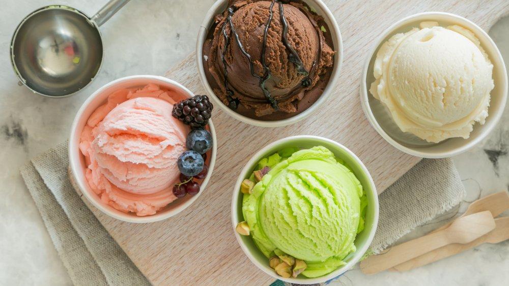 Ice cream in bowls