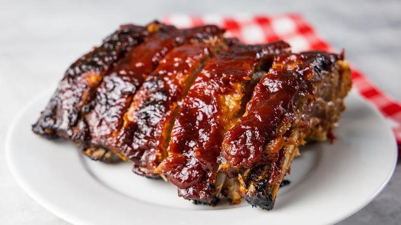 BBQ sauce slathered on ribs