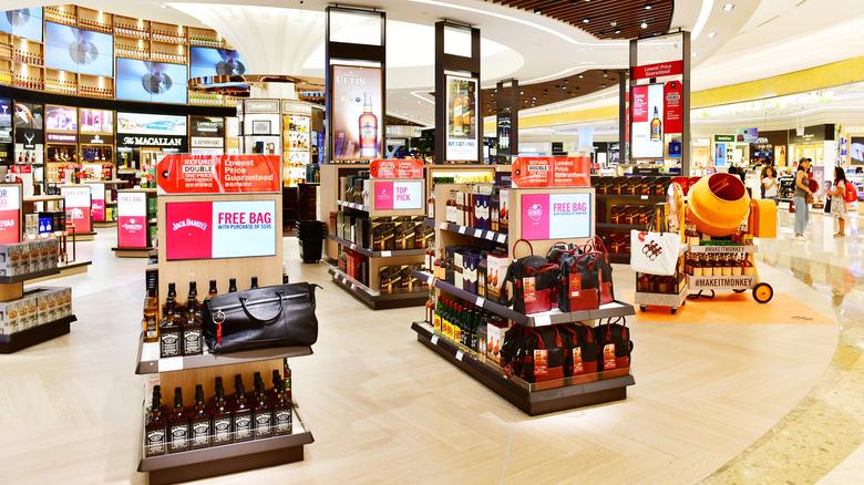 Liquor section, airport duty-free shop