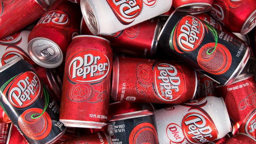 Cans of Dr Pepper in various flavors