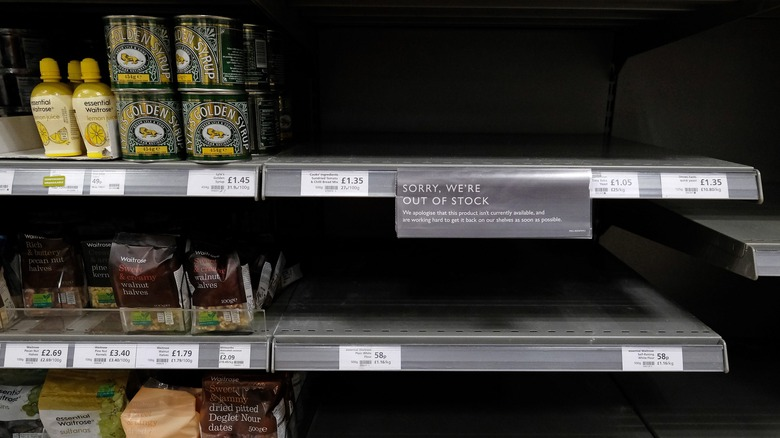 supermarket flour shelves