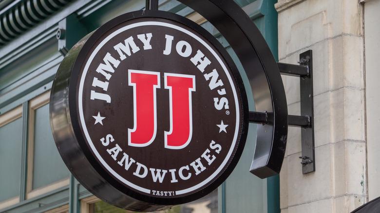 Jimmy John's logo affixed to brick building