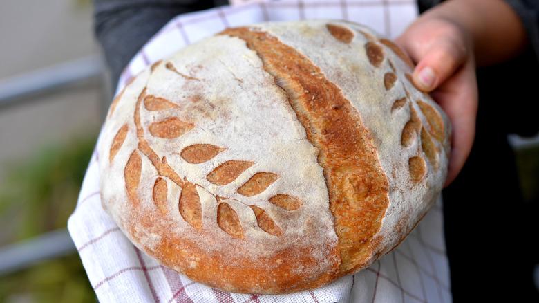 Sourdough bread with crust pattern