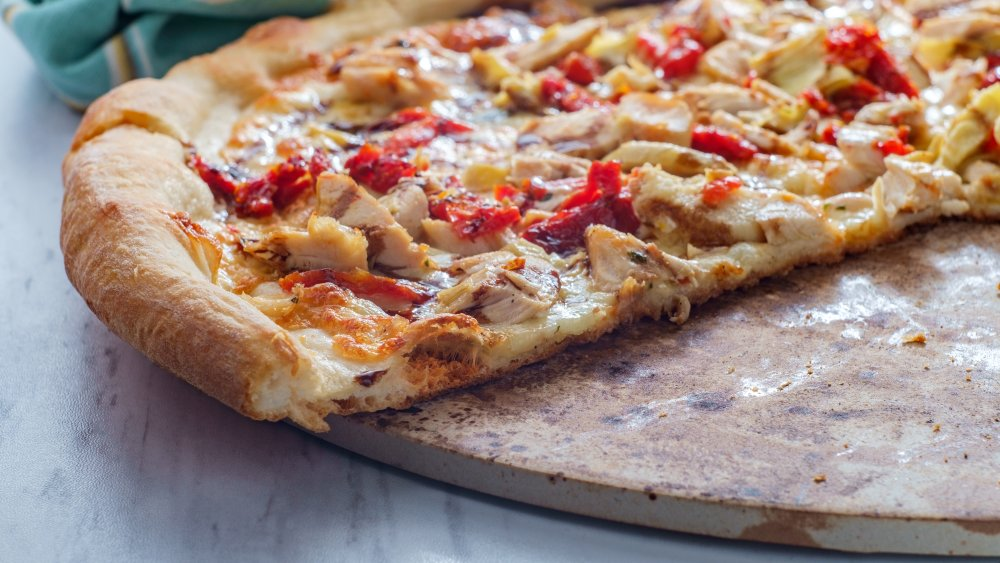pizza on pizza stone
