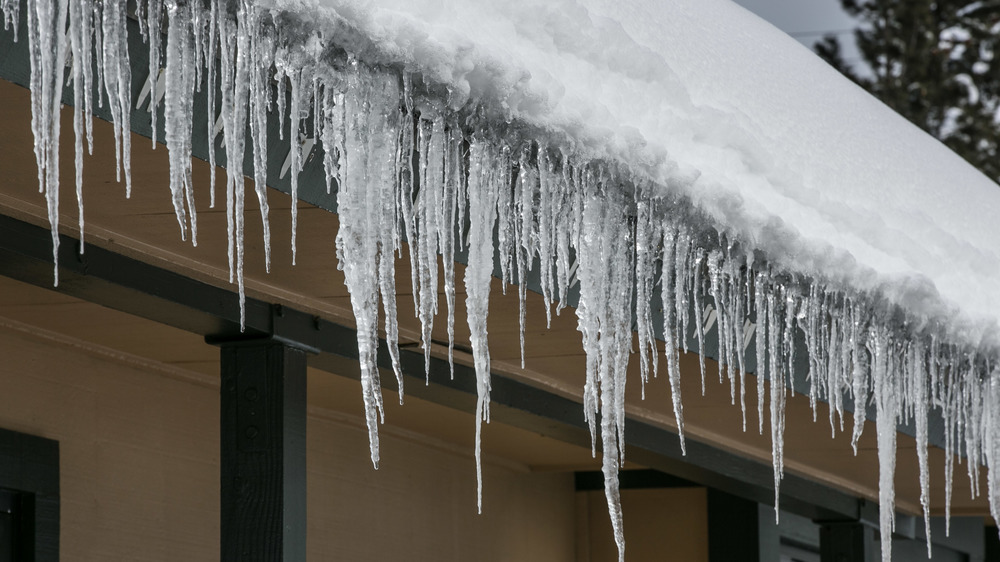 Icicles along a roof's edge