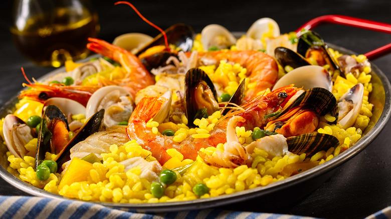 A dish of paella