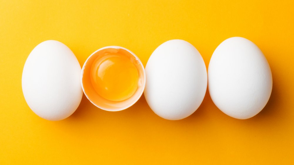 Whole eggs in shell with egg yolk