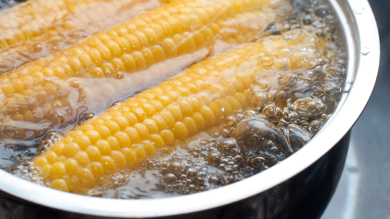 Corn in a pot of boiling water