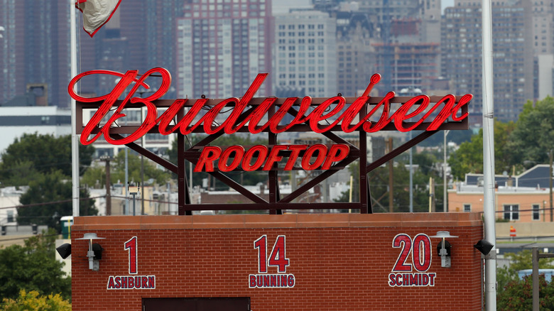 Budweiser sign on a roof