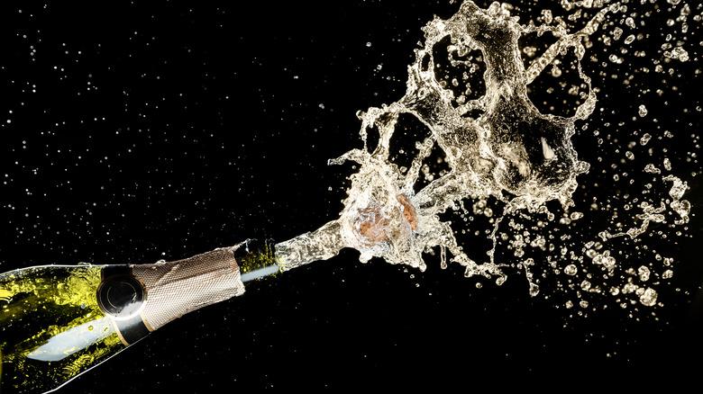 Champagne bottle exploding