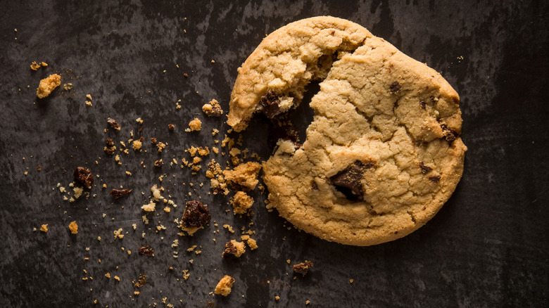Crumbling chocolate chip cookie