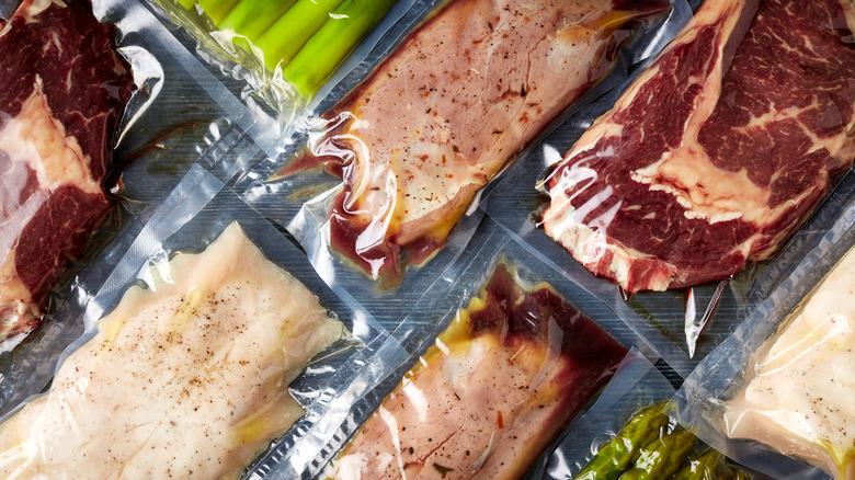 Proteins in vacuum-sealed bags