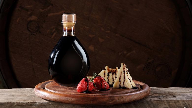 Balsamic vinegar, strawberries, and parmesan