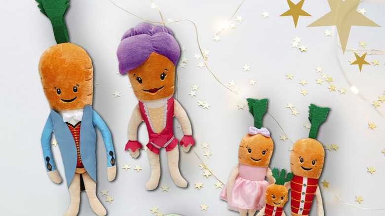 anthropomorphic plush toys: Kevin the Carrot & wife, three children carrots and brussel sprout