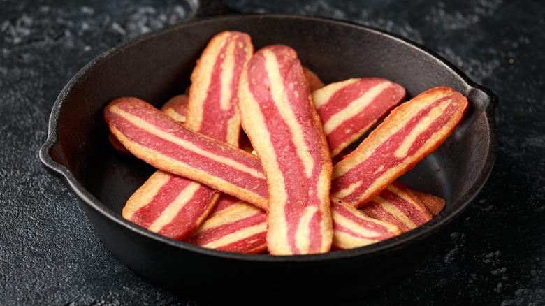 vegan bacon in pan