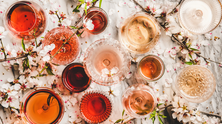 Glasses of rosé wine