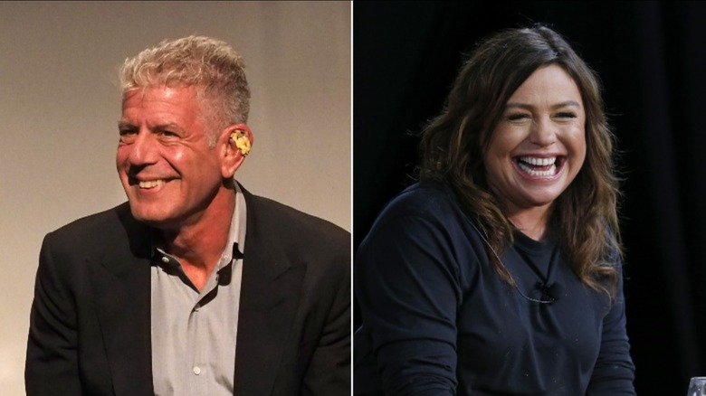 Anthony Bourdain and Rachael Ray smiling