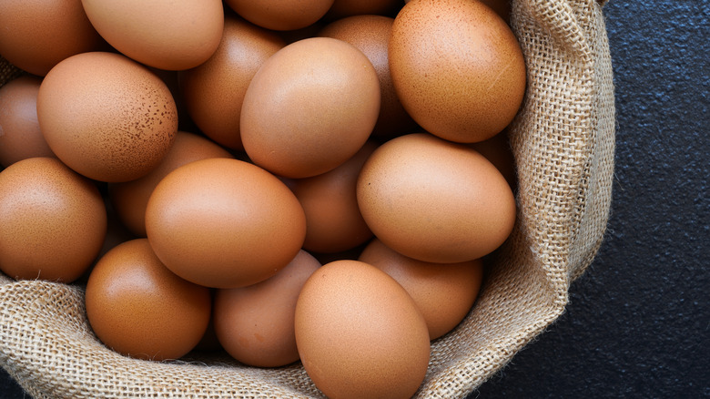Eggs in a burlap sack