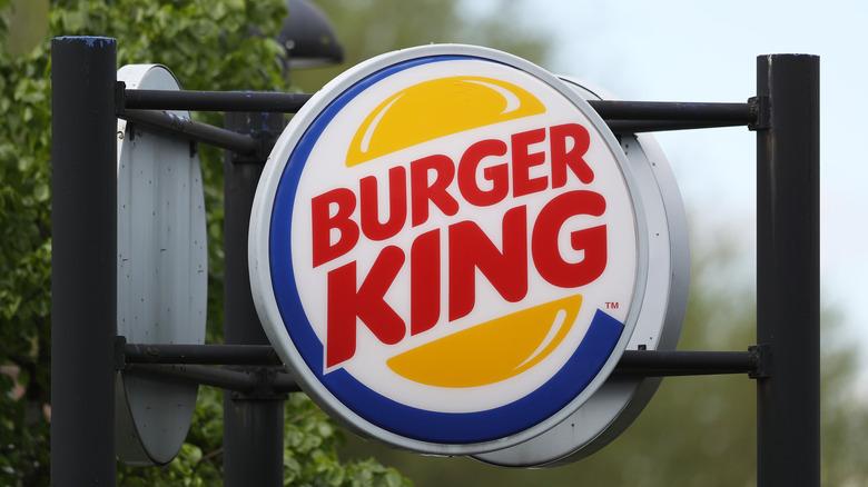 Burger King sign hanging outside