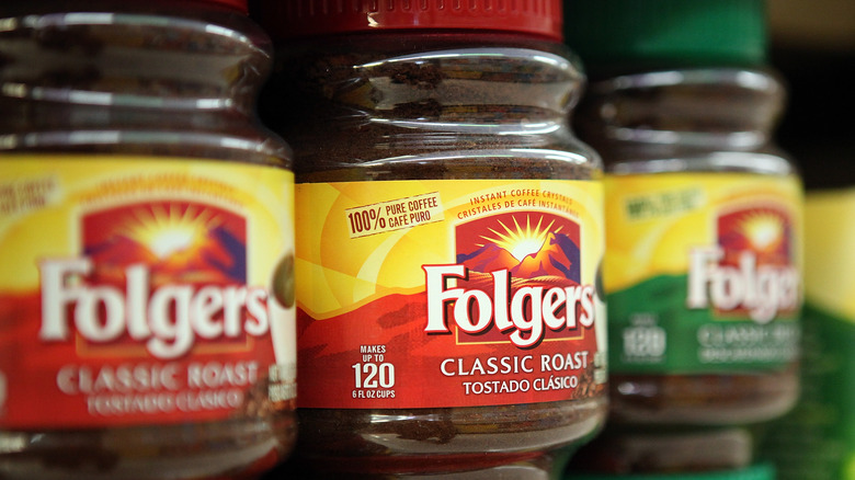 Folgers Coffee in jars