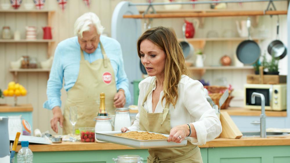 Woman holding baking pan