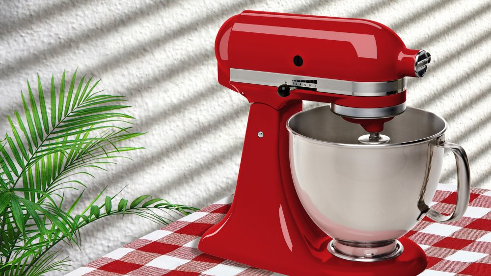 Red KitchenAid mixer model