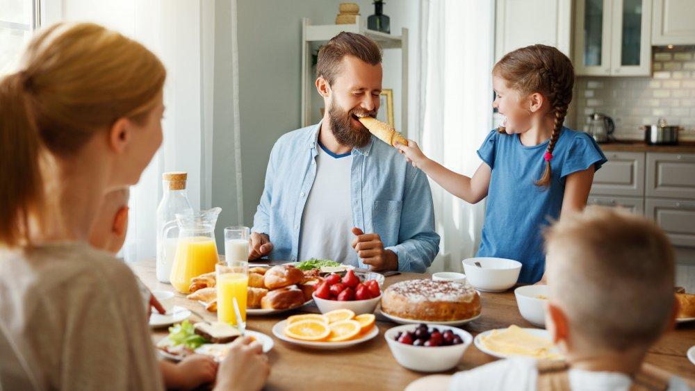 Family eating morning breakfast