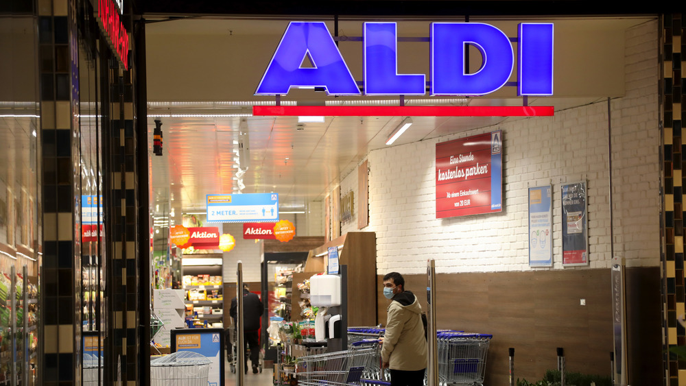 Aldi sign at store entrance