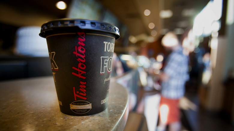 A coffee cup at Tim Hortons