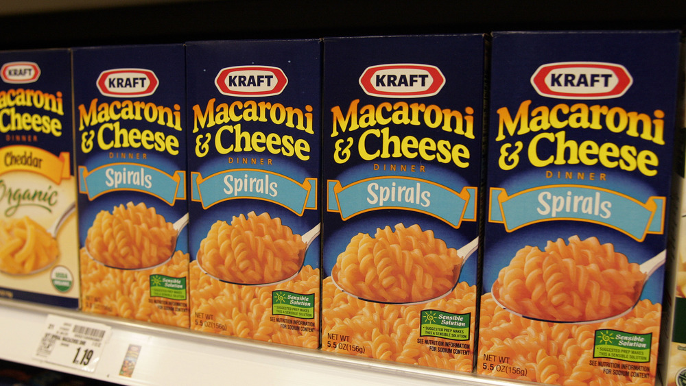 Kraft mac and cheese on the shelf