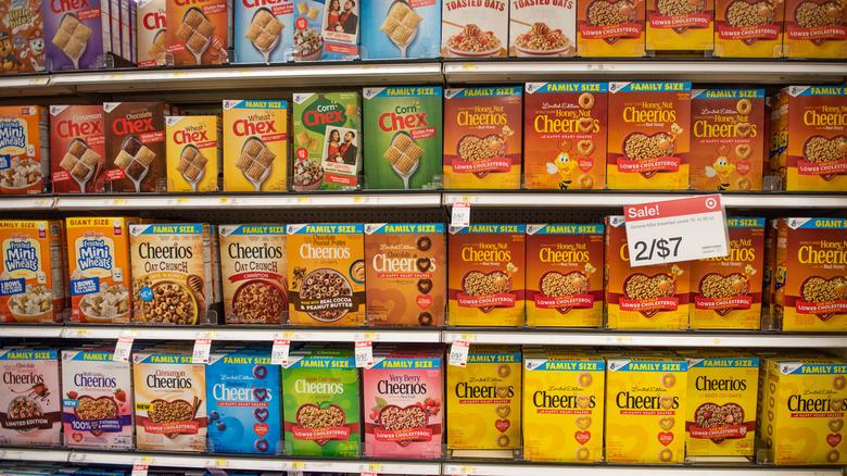 Shelf of General Mills cereal