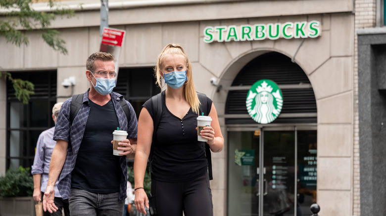Starbucks customers with face masks