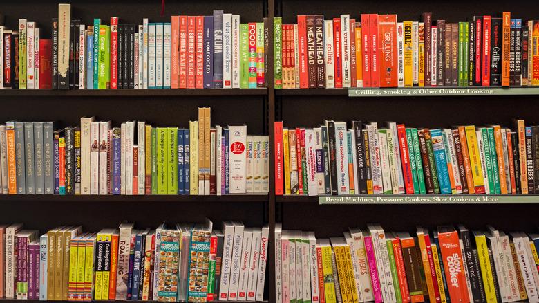 shelves of cookbooks