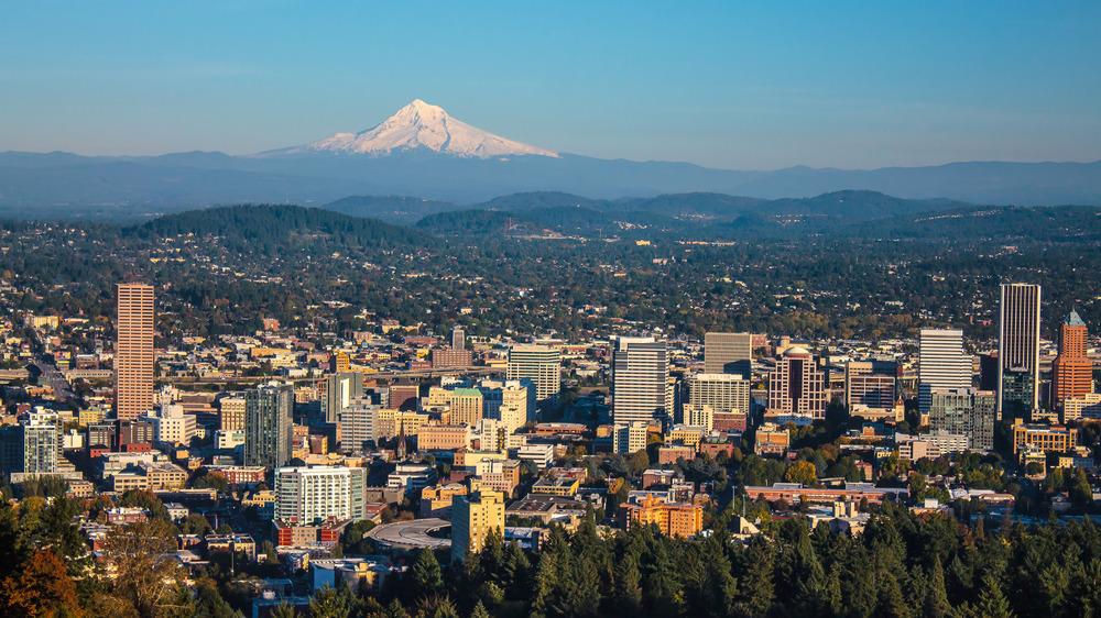 Portland, Oregon with Mount Hood in background