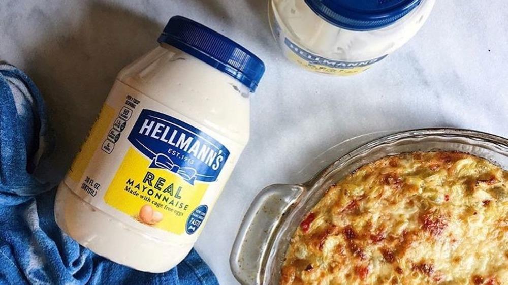 Jar of Hellmann's mayo with casserole