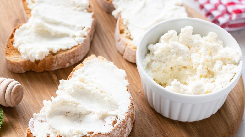 Ricotta cheese on bruschetta