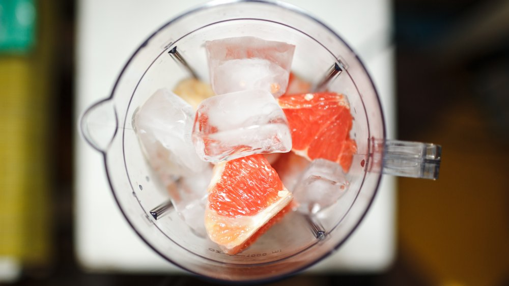 Blender with ice and fruit