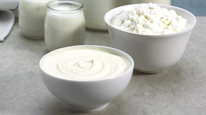 Heavy cream, cheese, and milk