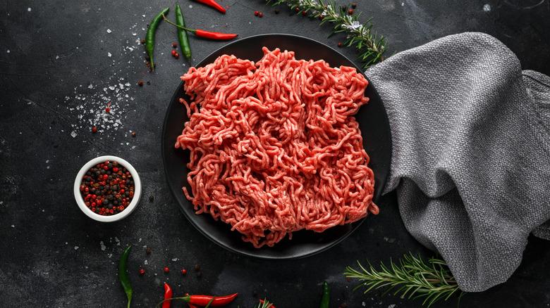 Ground beef on a black background