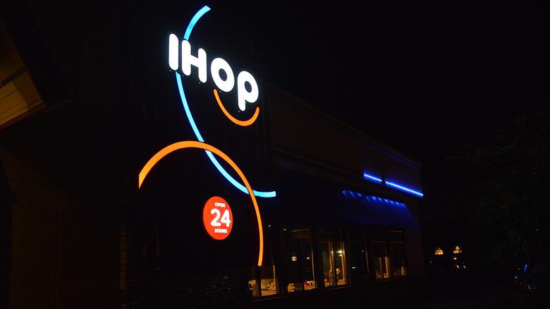 IHOP sign on outside of restaurant