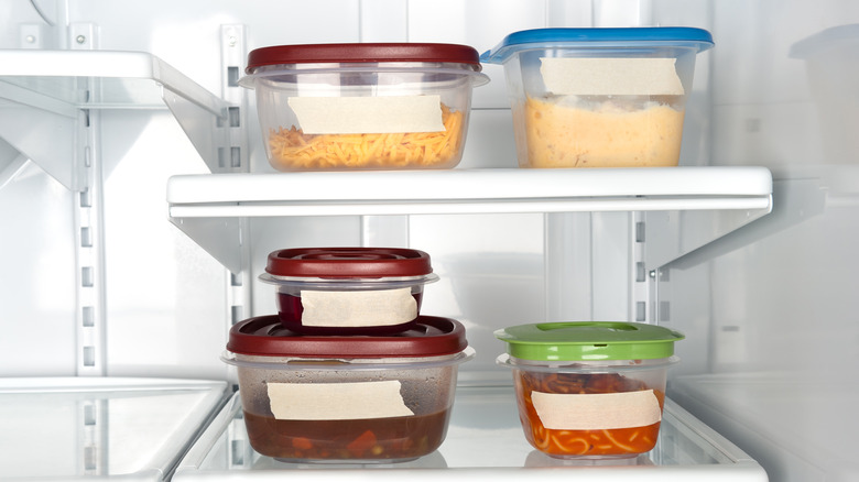 Containers of leftovers in the refrigerator