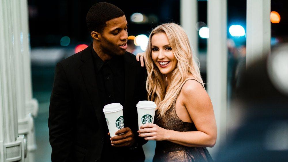 Models enjoying Starbucks beverages
