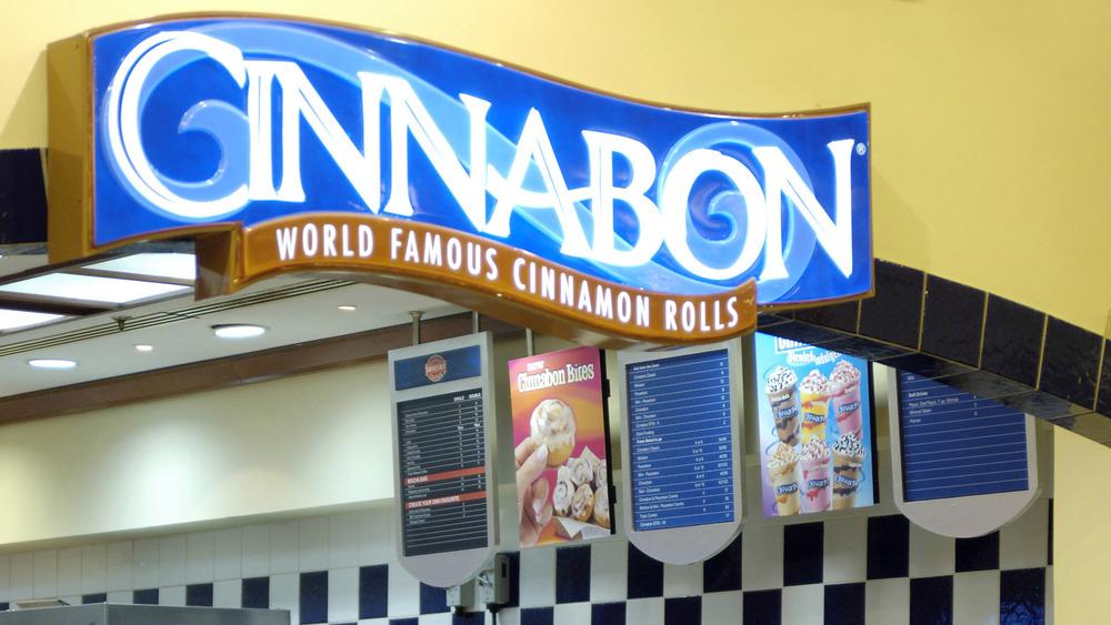 Cinnabon sign and menu offerings