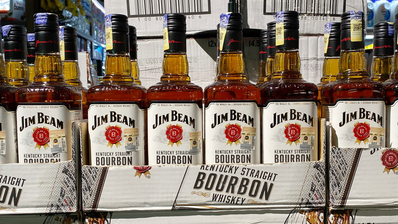 Row of Jim Beam Bottles