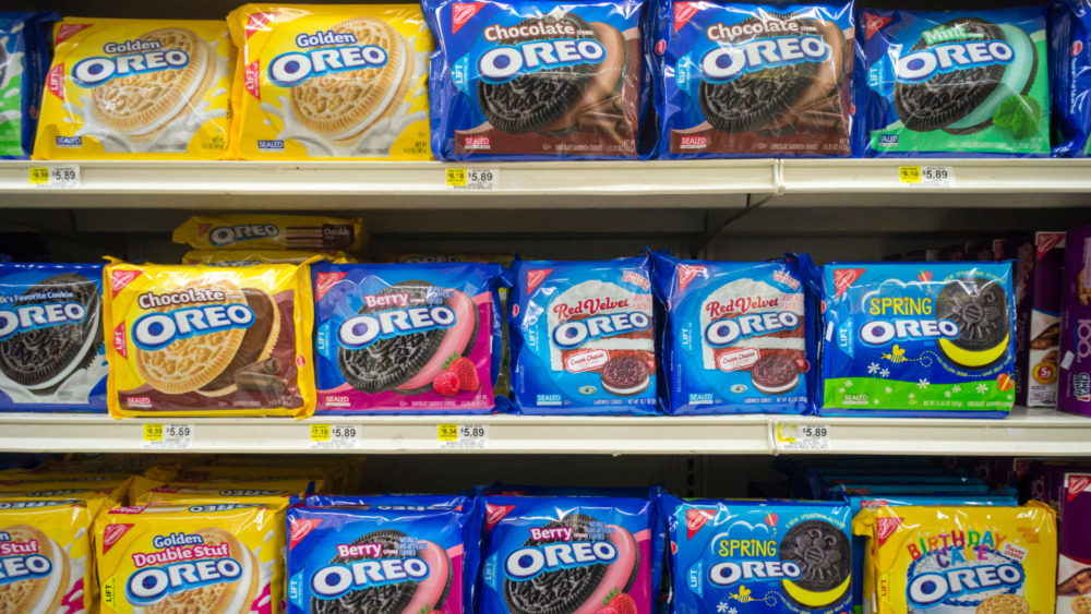 Bags of Oreo cookies on shelves