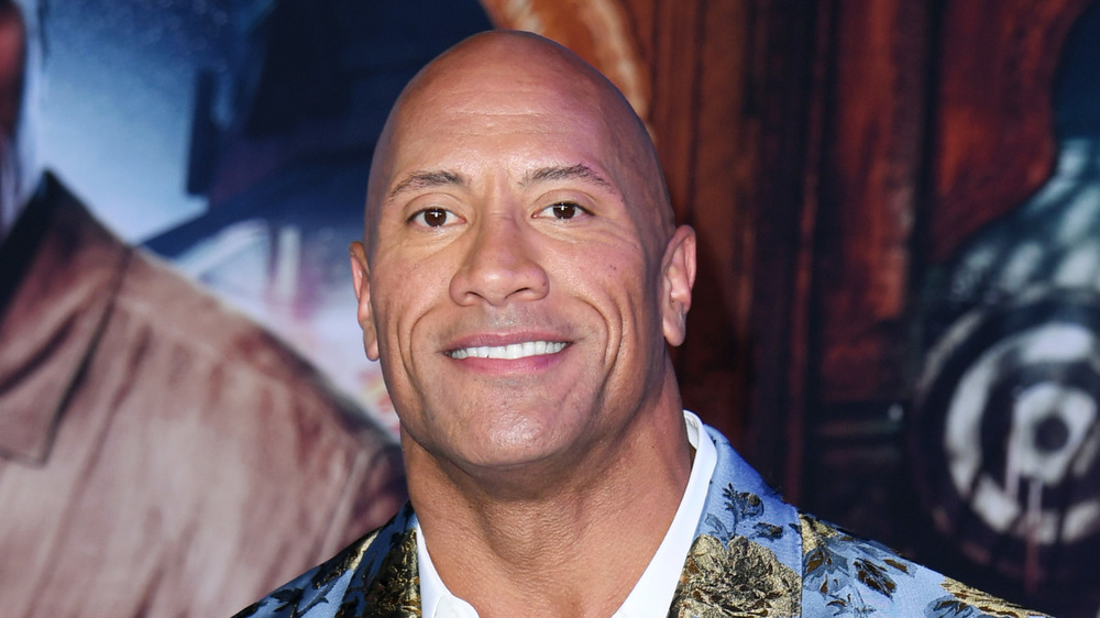The Rock in a printed blazer