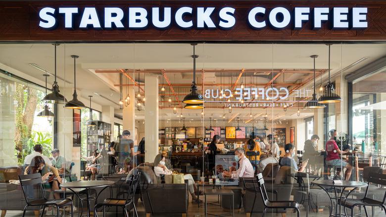 Interior of Starbucks coffeeshop