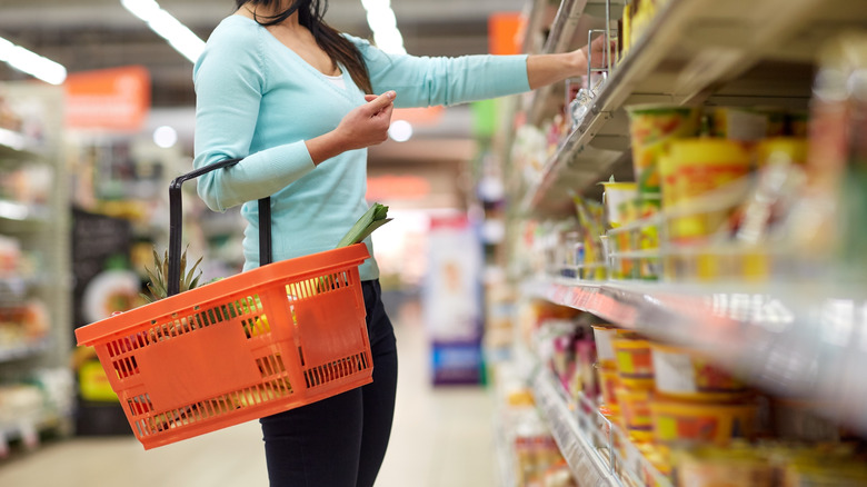 woman shopping at grocery store