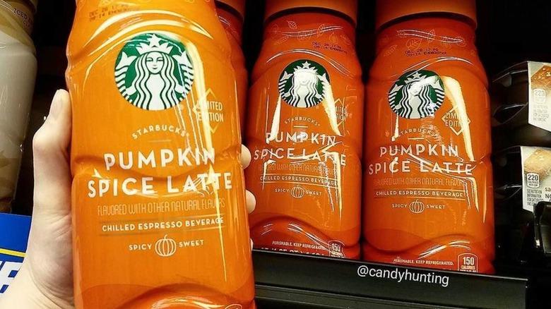 Bottles of Starbucks Pumpkin Spice Latte