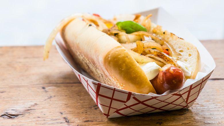 Seattle-style hot dog with cream cheese and onions